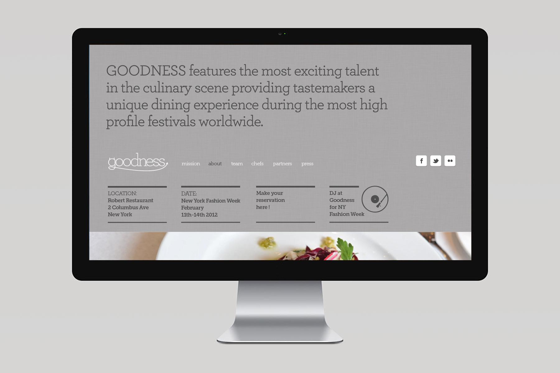 Goodness Pop-Up restaurant / Screendesign